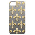Modelo de oro de la flor de lis en pendiente iPhone 5 cárcasa