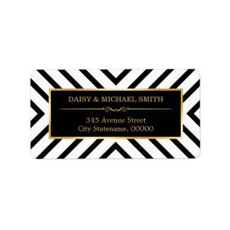 Modelo de oro de lujo moderno del blanco del negro etiquetas de dirección