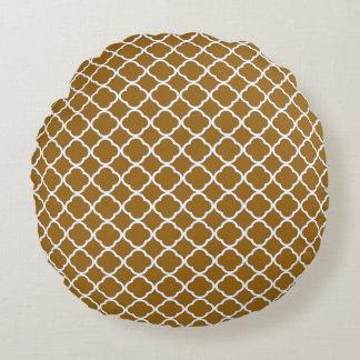 Modelo de oro de moda de Brown Quatrefoil Maroccan Cojín Redondo