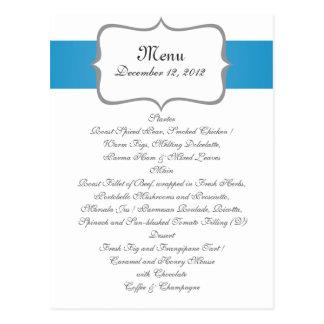 modelo de Paisley del gray&blue en menú del boda Tarjeta Postal