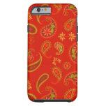 Modelo de Paisley del rojo y de la verde lima de Funda De iPhone 6 Tough