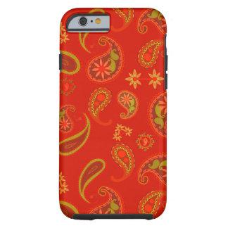 Modelo de Paisley del rojo y de la verde lima de Funda Para iPhone 6 Tough