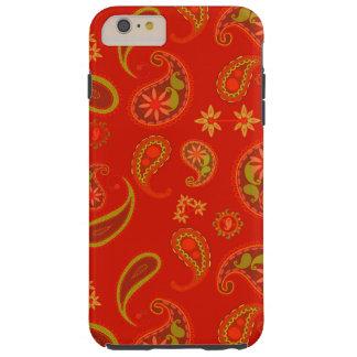 Modelo de Paisley del rojo y de la verde lima de Funda Resistente iPhone 6 Plus
