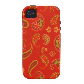 Modelo de Paisley del rojo y de la verde lima de l Case-Mate iPhone 4 Funda