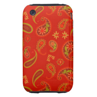 Modelo de Paisley del rojo y de la verde lima de l Tough iPhone 3 Fundas