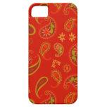 Modelo de Paisley del rojo y de la verde lima de l iPhone 5 Case-Mate Fundas