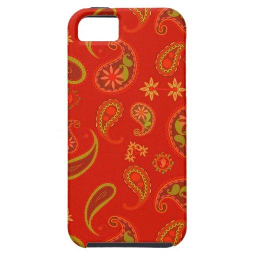 Modelo de Paisley del rojo y de la verde lima de l iPhone 5 Protector