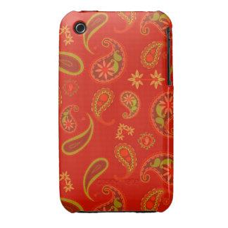 Modelo de Paisley del rojo y de la verde lima de l Case-Mate iPhone 3 Funda