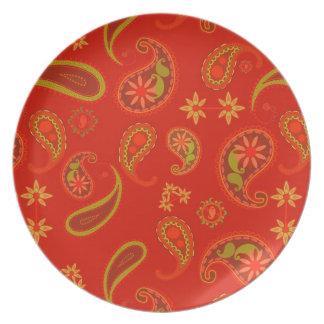Modelo de Paisley del rojo y de la verde lima de l Plato Para Fiesta