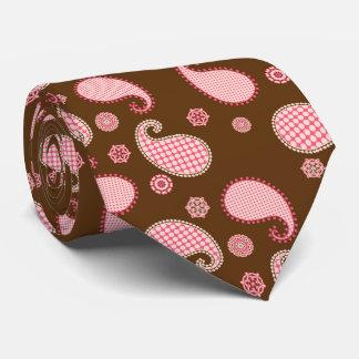 Modelo de Paisley, rosado y marrón coralinos Corbatas Personalizadas