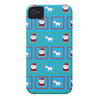 Modelo de Papá Noel de los unicornios del azul de Case-Mate iPhone 4 Fundas