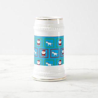 Modelo de Papá Noel de los unicornios del azul de Jarra De Cerveza