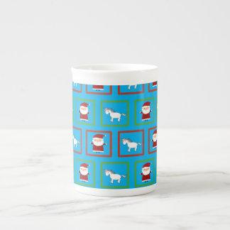 Modelo de Papá Noel de los unicornios del azul de Taza De Porcelana