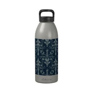 Modelo de papel del Victorian en azul Botella De Agua
