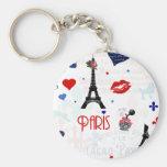 Modelo de París con la torre Eiffel Llavero