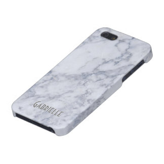 Modelo de piedra de mármol blanco del monograma iPhone 5 fundas