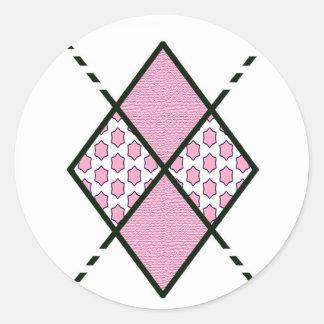 Modelo de Pink-04 Argyle Pegatina Redonda