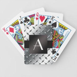 Modelo de plata de la placa de acero del diamante cartas de juego