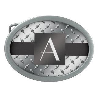 Modelo de plata de la placa de acero del diamante  hebilla de cinturon oval