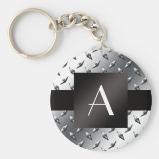 Modelo de plata de la placa de acero del diamante  llavero personalizado