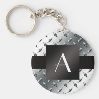 Modelo de plata de la placa de acero del diamante  llavero redondo tipo pin