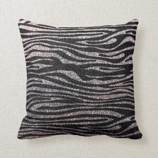 Modelo de plata de la raya de la cebra falso bril almohada