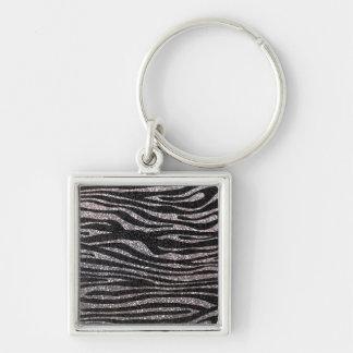 Modelo de plata de la raya de la cebra (falso bril llavero cuadrado plateado