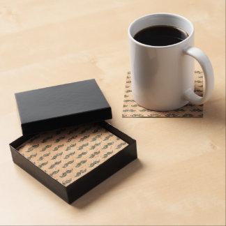 Modelo de plata del bigote del brillo impreso posavasos