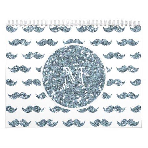 Modelo de plata del bigote del brillo su monograma calendario