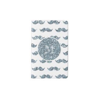 Modelo de plata del bigote del brillo su monograma cuaderno de bolsillo moleskine