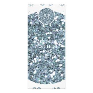 Modelo de plata del bigote del brillo su monograma tarjetas publicitarias