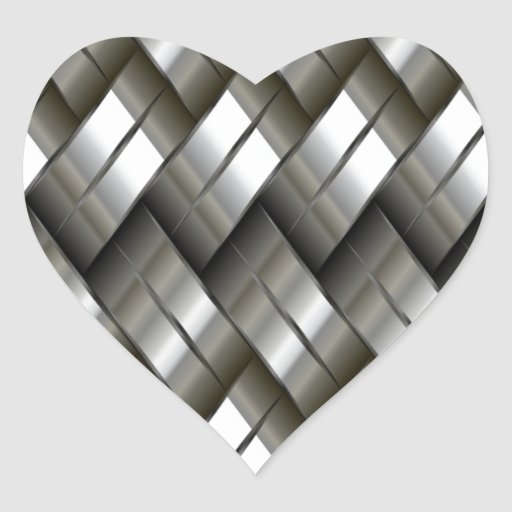 Modelo de plata del metal pegatina en forma de corazón