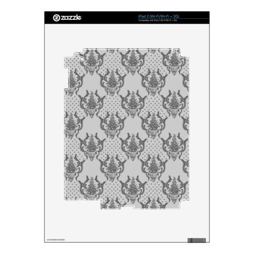 Modelo de plata gris del damasco skins para iPad 2