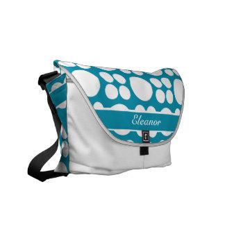 Modelo de punto blanco personalizado en el azul de bolsas de mensajeria