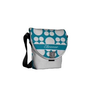 Modelo de punto blanco personalizado en el azul de bolsas de mensajería