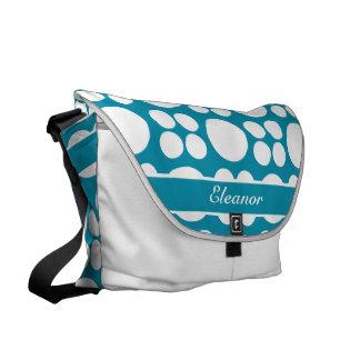 Modelo de punto blanco personalizado en el azul de bolsa de mensajeria