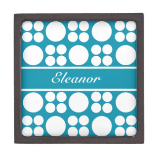 Modelo de punto blanco personalizado en el azul de cajas de recuerdo de calidad