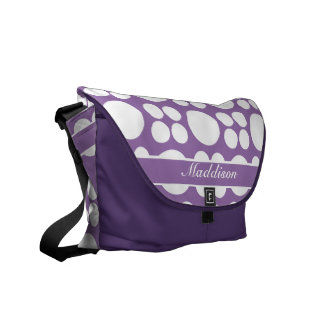 Modelo de punto blanco personalizado en la púrpura bolsa de mensajeria