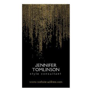 Modelo de punto de oro elegante en negro tarjeta de visita