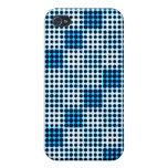 Modelo de punto de semitono blanco y azul negro Ip iPhone 4 Protectores
