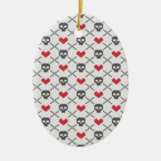 Modelo de punto del corazón del cráneo ornaments para arbol de navidad