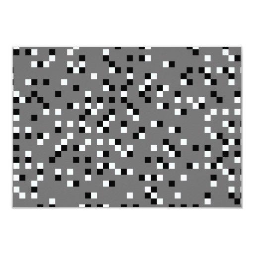 """Modelo de puntos cuadrado gris, blanco y negro invitación 3.5"""" x 5"""""""