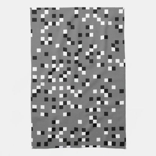 Modelo de puntos cuadrado gris, blanco y negro toalla de cocina