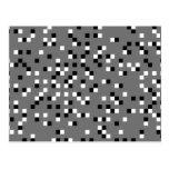 Modelo de puntos cuadrado gris, blanco y negro tarjeta postal