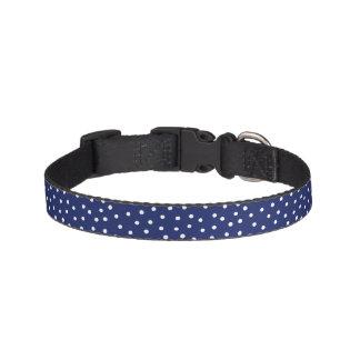 Modelo de puntos del confeti de los azules marinos collar para perro