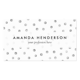 Modelo de puntos del confeti del blanco gris tarjetas de visita