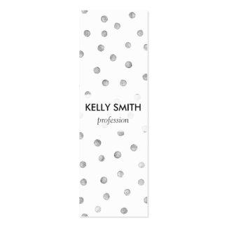 Modelo de puntos del confeti del blanco gris tarjetas de visita mini