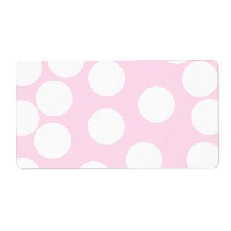 Modelo de puntos grande Palidezca - rosa y blanco Etiqueta De Envío
