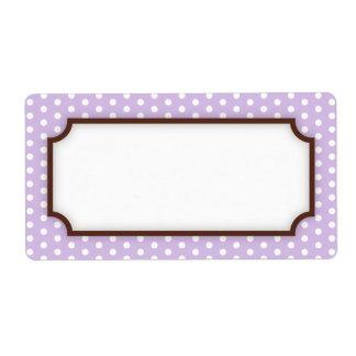Modelo de puntos púrpura pálido en blanco elegante etiquetas de envío