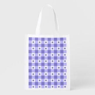 Modelo de puntos púrpura y blanco del control de bolsas para la compra